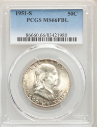 1951-S 50c Franklin Half Dollar PCGS MS66FBL