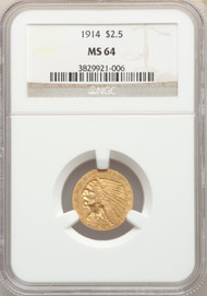 1914 $2.5 Gold Indian NGC MS64 - 743823027