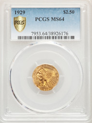1929 $2.5 Gold Indian PCGS MS64