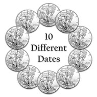 10-Different Date Silver Eagle Set GEM BU