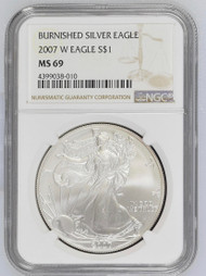 Burnished Silver Eagle NGC MS69 - The Rarest Silver Eagle