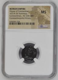 AD 330-340 Roman Bronze Constantinian NGC MS - Constantinopolis/Victory