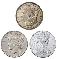 Morgan, Peace, Silver Eagle 3-Coin Set - Last Year Of Issue