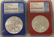 2017 Silver Eagle NGC MS70 First Day of Issue Red/Blue 2-Coin Set