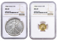 1986 $5 Gold Eagle & $1 Silver Eagle NGC MS69 2-Coin Set - First Year Of Issue