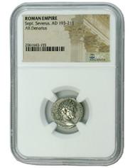 Roman Silver Denarius of Septimius Severus (AD 193-211) NGC (Medium grade)
