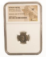Roman AE Antoninianus of Quintillus (AD270) NGC (XF)