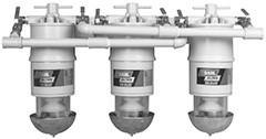 Baldwin 300-MMV3 Three Marine Diesel Fuel Filter/Water Separators Manifolded with Shut-Off Valves