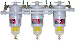 Baldwin 300-MFV3 Three Diesel Fuel Filter/Water Separators Manifolded with Shut-Off Valves