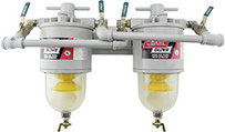 Baldwin 300-MFV Two Diesel Fuel Filter/Water Separators Manifolded with Shut-Off Valves