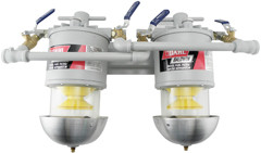 Baldwin 200-MMV 2 Diesel Fuel/Water Separators Manifolded with Shut-Off Valves U.L. Listed