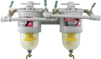 Baldwin 200-MFV Two Diesel Fuel Filter/Water Separators Manifolded with Shut-Off Valves