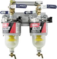 Baldwin 100-MFV Two Diesel Fuel Filter/Water Separators Manifolded with Shut-Off Valves
