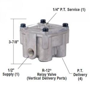 """Bendix 65104 R-12 Relay Valve - Vertical Delivery Ports, 4 PSI Crack Pressure, 3/8"""" NPT Del Ports"""