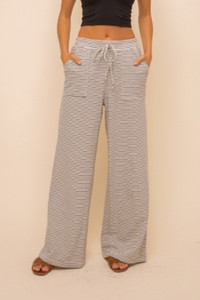 Wide Leg Striped Comfy Pants (Navy or Taupe)