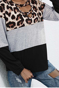 Leopard Print Open Chest Tunic Top