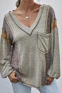 Loose Fit V-Neck Tunic w/Chest Pocket