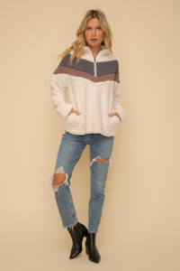 Chevron Zip-Up Sherpa Pullover