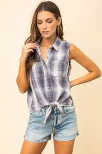 Frayed Edge Tie Front Shirt