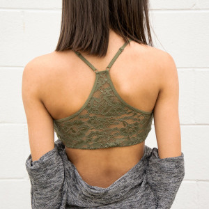Seamless Lace Racerback Bralette (Olive or Black)