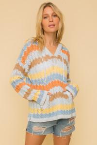 Multi Color Stripe Hoodie Sweater