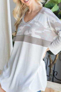 Camouflage Contrast Tunic Top