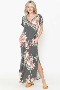 Floral V-Neck Short Sleeve Maxi Dress