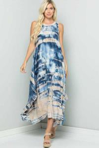 Tie Dye Print Plus-Size Maxi Dress
