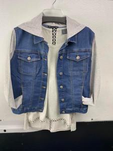 Denim Jacket w/Knit Hood & Sleeve