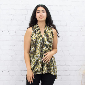 Green Dot Pleated Top