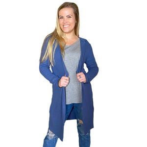 Blue Brushed Open Front Cardigan w/Hood