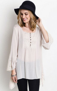 Bell Sleeve Button front Top w/Lace Detail