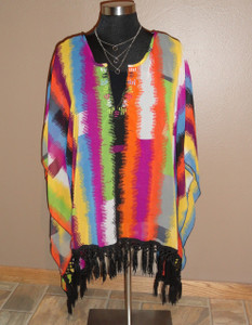 Multi Color Fringe Poncho