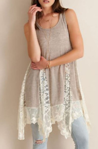 Taupe Top w/deep inset Lace Panels (Medium)