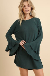 Layered Ruffled Bell Sleeve Dress/Tunic (Large)
