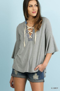 Angel Sleeve Top w/Drawstring Neckline
