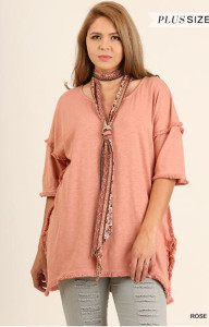 Plus-size Frayed Edge Tunic