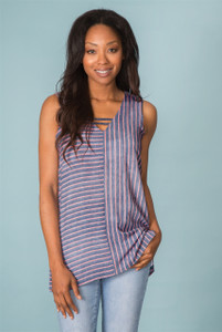 Up and Across Striped Top