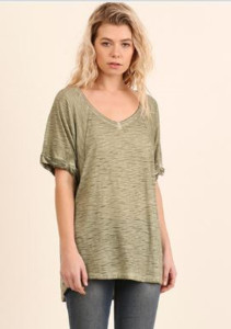 Army Green Washed Scoop Neck Tee (Small)