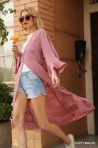 Bell Sleeve Dusty Mauve Kimono