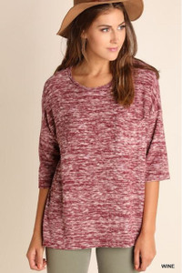 Wine Marled 3/4 Sleeve Top