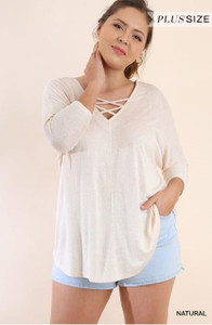 PLUS-SIZE Criss-Cross Neckline Top in 3/4 Sleeve