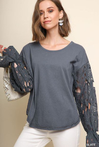 High-Low Top w/Floral Crochet Long Sleeves (Medium)