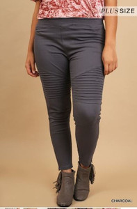 PLUS-SIZE Moto Jeggings w/Pintuck and Ankle Zipper