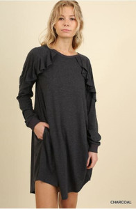Ruffled Long Sleeve Pocket Dress