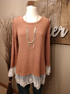 Cinnamon Knit Top w/Lace Contrast Hem (Medium)