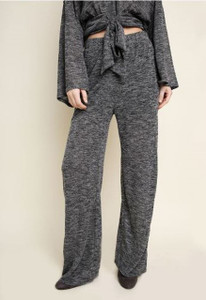 High Waisted Heathered Wide Leg Lounge Pant