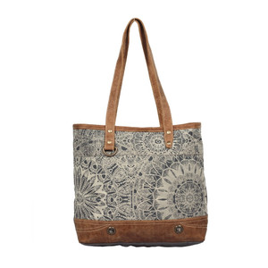Paisley Print Leather Strip Tote from MYRA