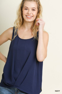 Round Neck Top w/Gathered Scoop Hem (Cobalt or Navy)