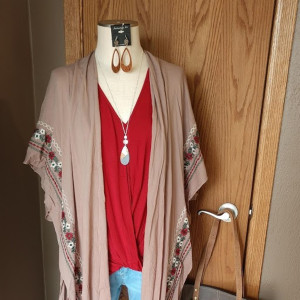 Mocha Embroidered Midi Length Kimono